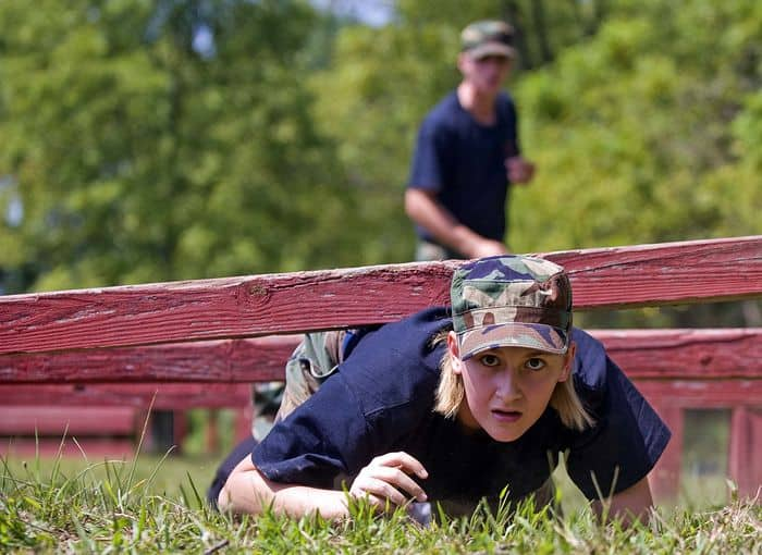 Civil Air Patrol Cadets negotiate the conditioning course at Camp Atterbury Joint Maneuver Training Center in central Indiana, part of their annual encampment training.