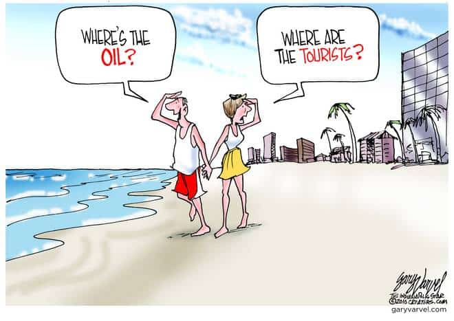 Good news, no oil on the beach. Bad news, no tourists