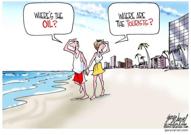 Good news, no oil on the beach. Bad news, no tourists