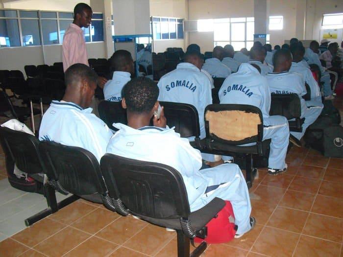 the somali team waiting at airport hall