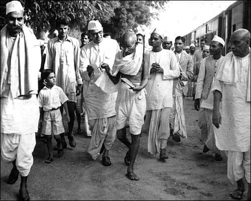 Gandhi ji during a foot march