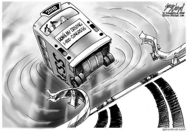 Congress drives the US bus through the guardrail, into the river