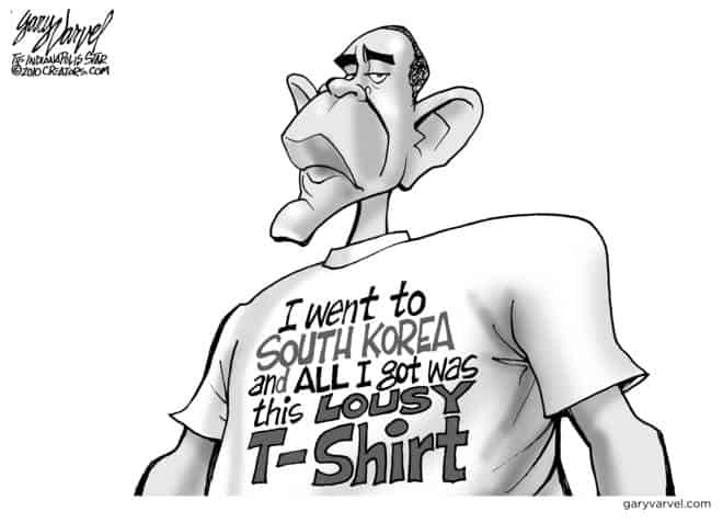 Obama Returns From Korea With Only a Lousy Tshirt