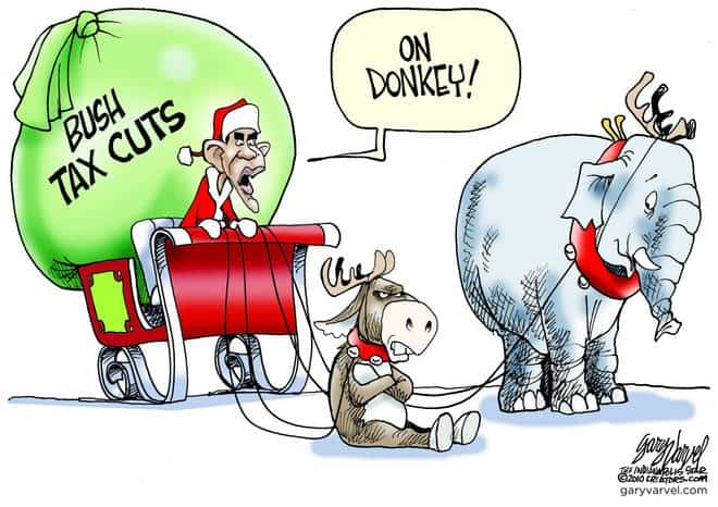 Santa Obama Drives Recalcitrant Donkey