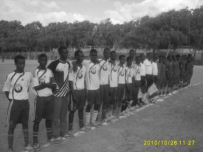 Teams line up before kick off