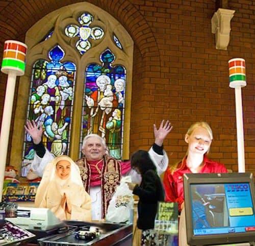 Tesco open store in a Church