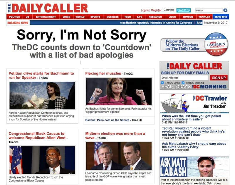 The Daily Caller front page.