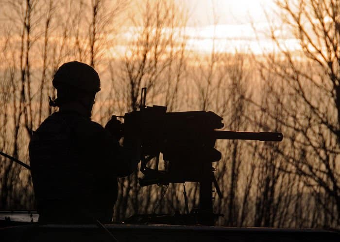 An Indiana National Guard Soldier prepares to engage targets with the Mk19 grenade launcher.