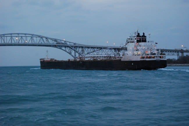 Freighter on Huron River Michigan Road Trekin Adventures