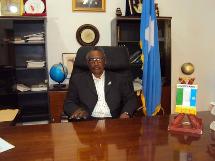 Puntland President Dr. Abdirahman Mohamed Faroole at his office