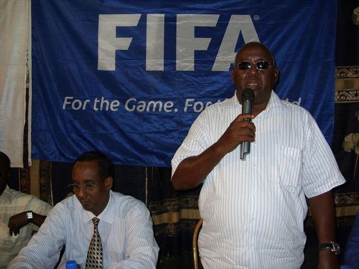Somali NOC president Aden Haji Yabarow addressing at the closing ceremony