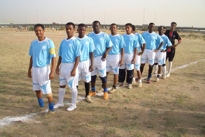 Banaadir FC team lines up.