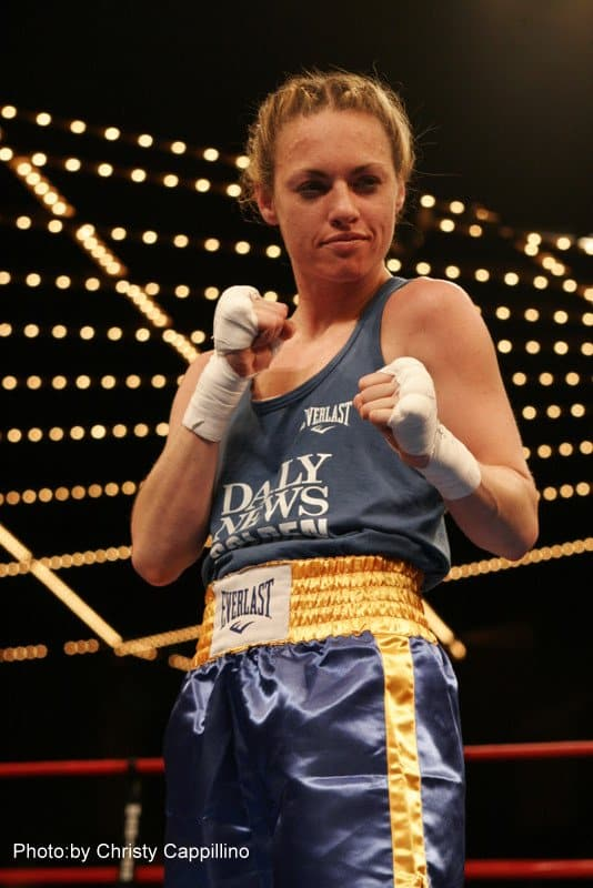 Heather Hardy posing for Fisticuffs At The Garden.