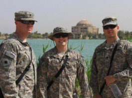 Spc. Andrew Goodall, Spc. Ryan Stevens and Spc. Andrew Gaspar prior to starting their tour of some of the historic sites on Victory Base Complex, Iraq.