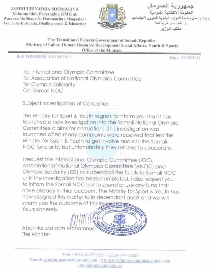 Minsitery of sport letter to IOC