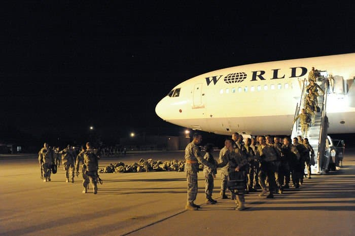 Soldiers of the Iowa Army National Guard 2BCT, 34ID, arrive at Volk Field, Wis., after their one year deployment in Afghanistan.