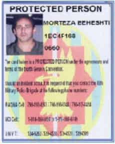 Protected persosns Card of Camp Ashraf residents
