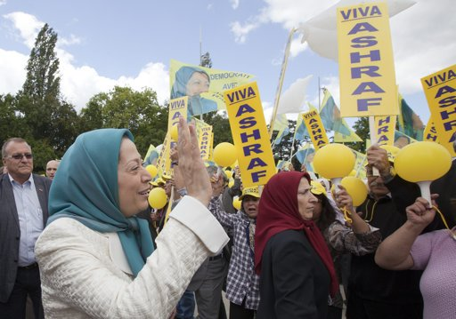 Mrs. Maryam Rajavi, President elect of the Iranian Resistance, with Iranian protestors in front of the United Nations European Headquarters in Geneva.