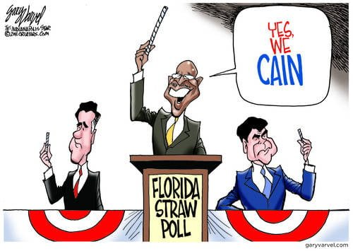 Yes We Cain, While Mitt, Perry Draw Short Straws
