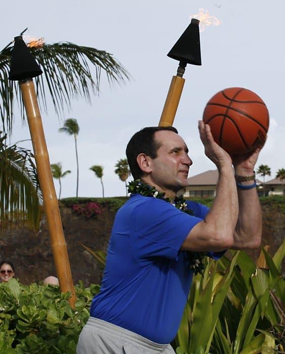 Coach K Maui free throw photo by Chris Bronson