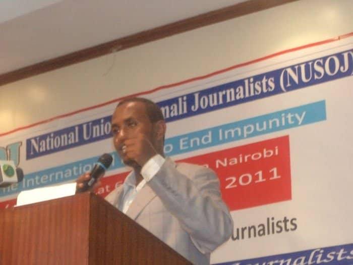 Mohamed Garane NUSOJ training secretary giving speech at the event