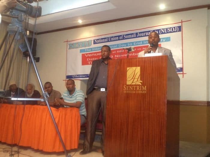 Mohamed Garane NUSOJ training secretary giving speech event