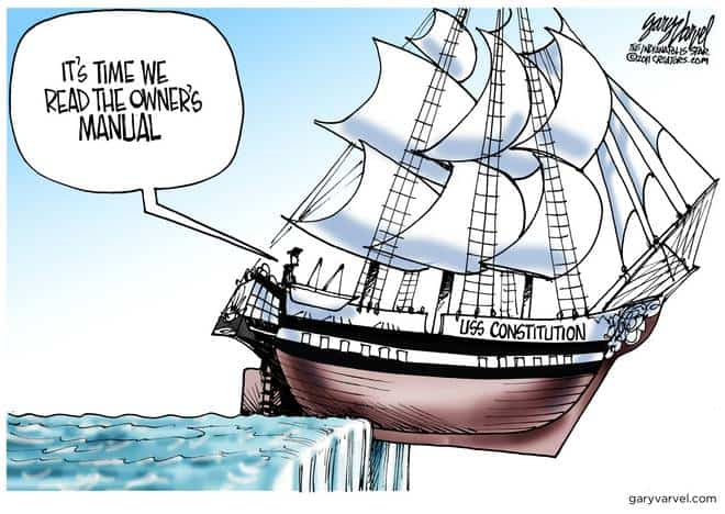 As the ship goes over the edge, congress decides to read the Constitution