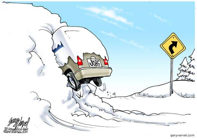 Jobs Crash Into Snow Bank, Halting Employment
