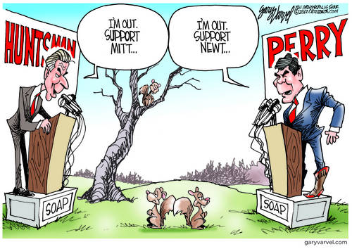 Huntsman and Perry, Out of Contention, Continue To Grandstand And Spar Over Republican Nomination