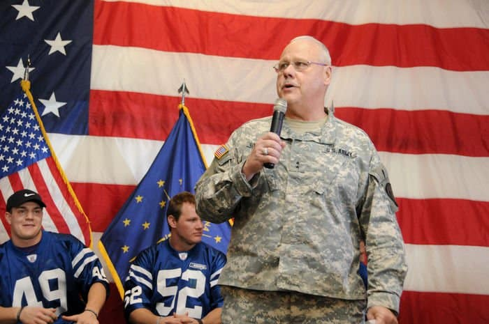 Indiana Adjutant General Maj. Gen. R. Martin Umbarger speaks to Soldiers and families at the NFL Salute to Service at Camp Atterbury Joint Maneuver Training Center.