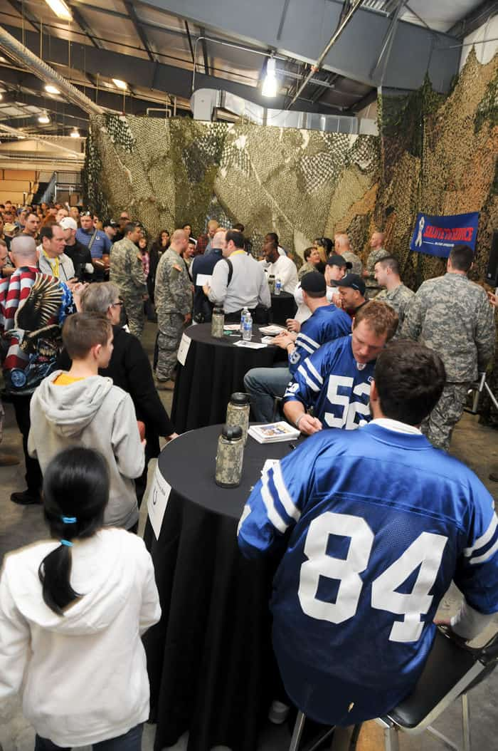 Three players from the Indianapolis Colts, Cleveland Browns, Tennessee Titans, Carolina Panthers, and New York Jets signed autographs for Soldiers and their families.