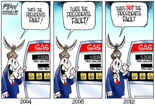 Democrats: In 2004, $2 Gas Bush Fault, In 2008 $4 Gas Bush Fault, In 2012, $5 Gas Not Obama Fault