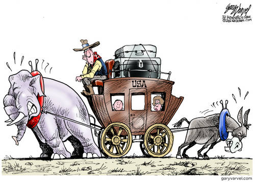 The US Stagecoach Is Pulled In Two Directions