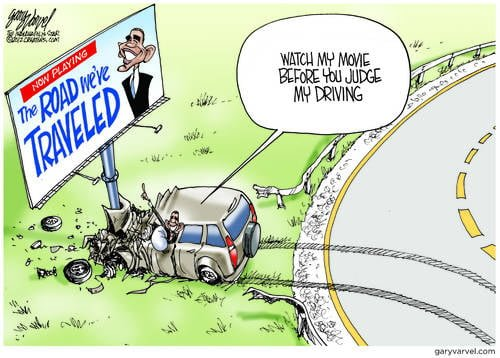 Obama Smashes Economy Vehicle Into A Pole, On The Road We Traveled