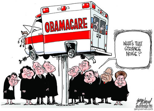 Supremes Put Obamacare On Hoist For Investigation, Find Patchwork Fixes, Hear Strange Sounds Within