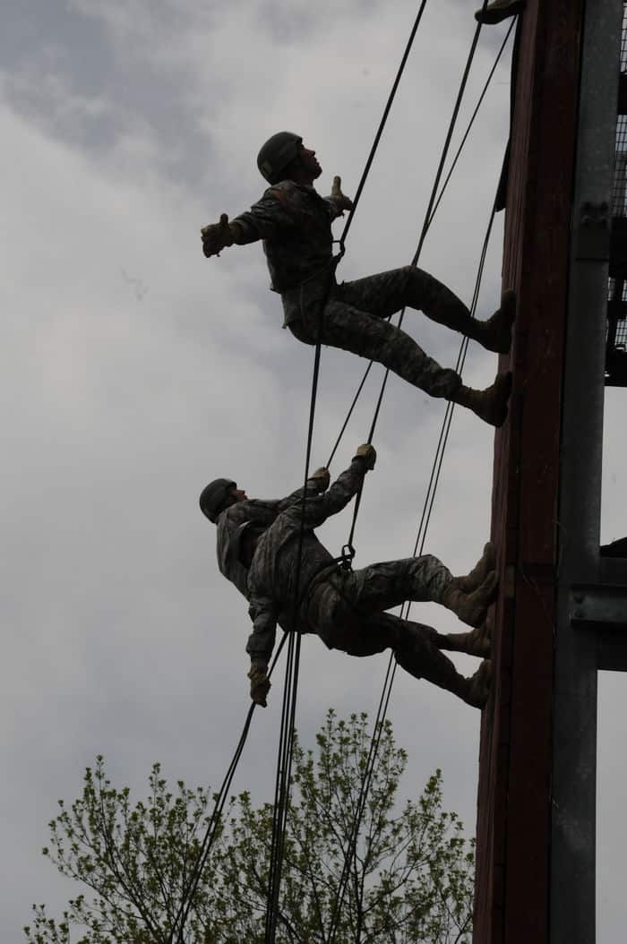 Students of the Air Assault Course at Camp Atterbury Joint Maneuver Training learned various air assault skills, including rappelling.