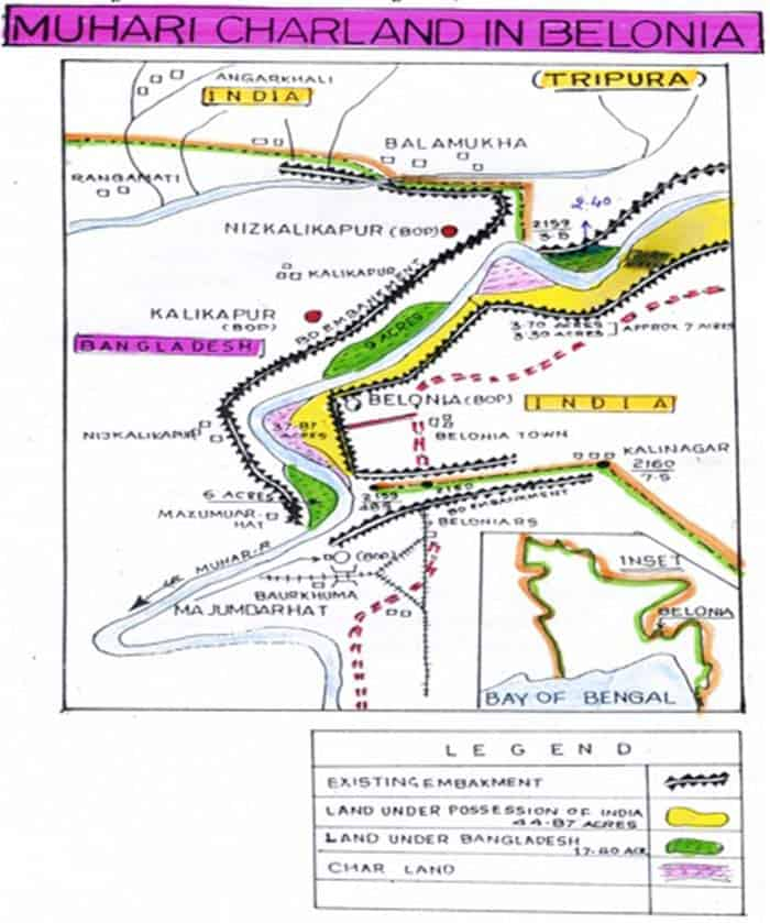 IndiaBangladesh International Border Disputes Muhuri River - Border checkpost us map