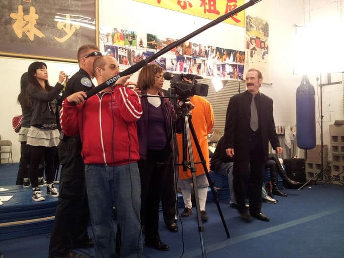 Shooting a scene in the Shaolin Academy.