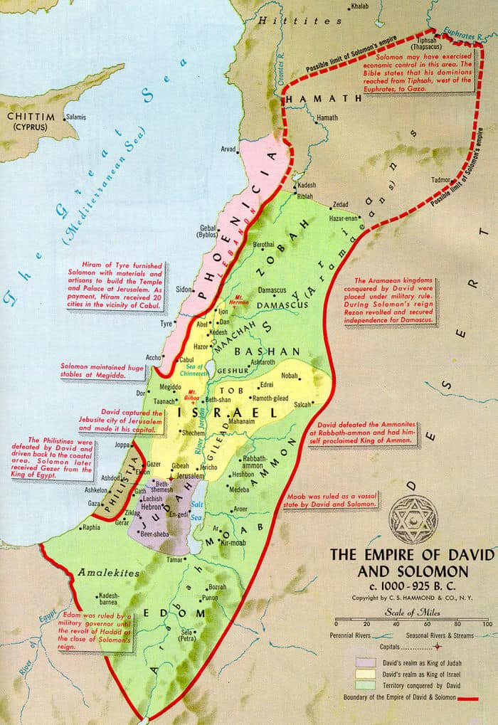 Israel Ancient Map Empire Kingdom of King David and King Solomon
