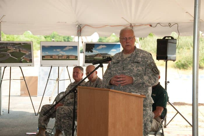 Maj. Gen. R. Martin Umbarger, Adjutant General Indiana National Guard, addresses attendees at a groundbreaking ceremony for the construction of the new Operational Readiness Training Complexes at Camp Atterbury Joint Maneuver Training Center, Ind.
