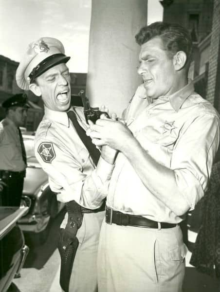 Don Knotts and Andy Griffith as Barney and Sheriff Taylor