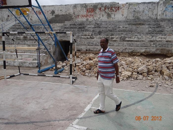 Somali NOC secretary General Abdullahi Ahmed Tarabi walks inside the stadium