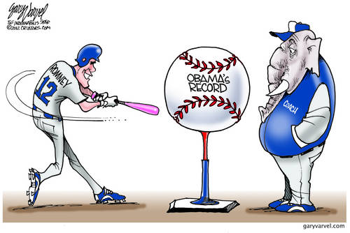 Romney, mighty Romney, advances to the bat, but theres no joy in GOP - mighty Romney is striking out