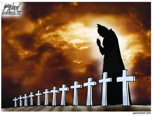 Its a Dark Night When The Dark Knight Prays For So Many Innocent Victims Of A Madman