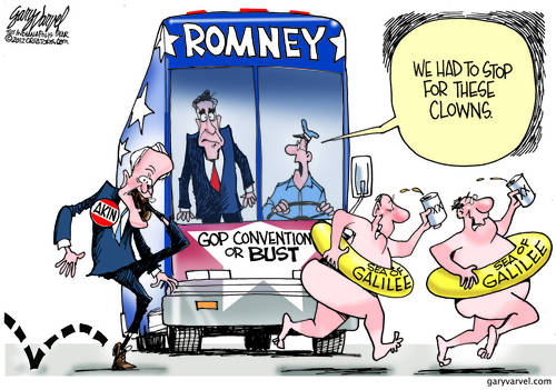 Romney Bus Delayed By Weirdos. Where Do They Find These Bozos?