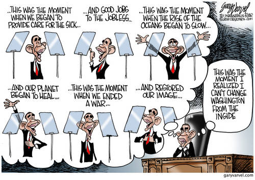 President Teleprompter Works On His Achievements Speech, Clouded By Washington Reality