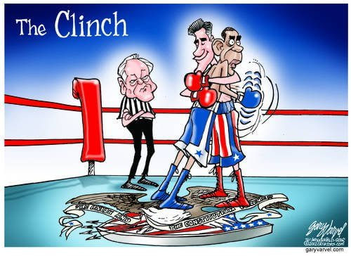 Obama And Romney Take Up Boxing, Romney Bearhugs Obama