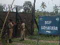 Soldiers Lock Border Gate At Sahapara village