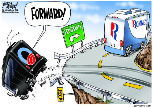 Romney Bus Turns Right To Prosperity, Obama Bus Goes Forward Over The Cliff
