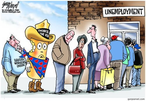 Union Continues to Eat Chunks Out of Twinkie In Unemployment Line